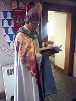 An Episcopal bishop immediately before presiding at the Great Vigil of Easter in the narthex of St. Michael's Episcopal Cathedral in Boise, Idaho.