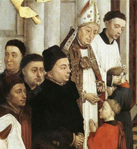 A bishop administering Confirmation. Rogier van der Weyden, The Seven Sacraments, 15th century. In the Latin Rite of the Catholic Church the administration of Confirmation is normally reserved to the local bishop.