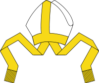 A mitre is used as a symbol of the bishop's ministry in Western Christianity.