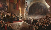 Painting by Tom Roberts of the Duke opening the first Parliament of Australia on 9 May 1901