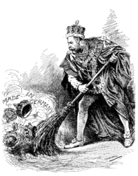 """""""A good riddance"""" A 1917 Punch cartoon depicts King George sweeping away his German titles."""