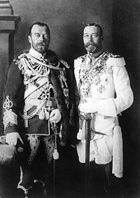 George V (right) and his physically similar cousin Nicholas II of Russia in German uniforms before the war.
