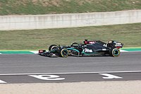 Hamilton driving the Mercedes W11, which was painted black for in support of Black Lives Matter