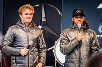 Hamilton (right) and Rosberg (left) endured a tense rivalry in their time as teammates.