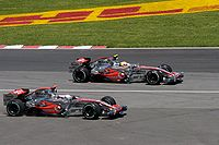 Alonso (left) and Hamilton (right) at the 2007 Canadian Grand Prix
