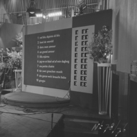 The scoreboard at the 1958 contest