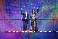Graham Norton and Petra Mede, the hosts of Eurovision Song Contest's Greatest Hits