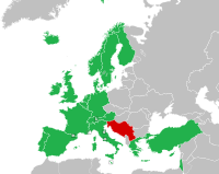 Regular participants in 1992. Yugoslavia is coloured in red: 1992 was the last year in which that nation participated under one name.