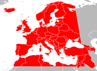 The European Broadcasting Area, shown in red