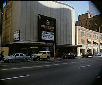 """Return of the Jedi showing at the University Theatre in Toronto; the marquee reads, """"The Smash of 83"""""""
