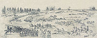 Saint Patrick's Day celebration in the Army of the Potomac, depicting a steeplechase race among the Irish Brigade, March 17, 1863, by Edwin Forbes