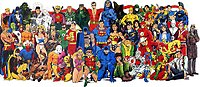 """A """"class photo"""" of DC Universe characters, circa 1986. In this group shot, each character is drawn by either his or her original artist or an artist closely associated with the character."""