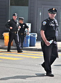 SFPD officers at a protest in the Mission District