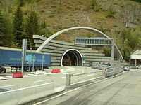 Entrance of the Mont Blanc Tunnel in Italy.