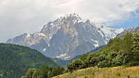 Mont Blanc as seen from Valdigne in Aosta Valley, Italy.