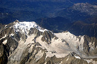 Aerial view of the south-eastern side of Mont Blanc, taken on a commercial flight