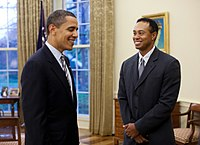 United States President Barack Obama and Woods meet in the Oval Office, April 2009