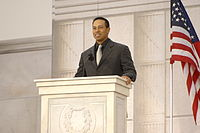 Woods giving a speech at We Are One: The Obama Inaugural Celebration at the Lincoln Memorial (January 2009)