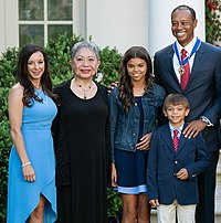 Woods after receiving the Presidential Medal of Freedom in 2019. From left to right: girlfriend Erica Herman, mother Kultida Woods, daughter Sam Woods, son Charlie Woods, and Tiger Woods