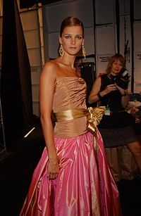 Kass backstage at a Bill Blass fashion show in 2003