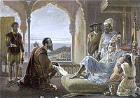 A steel engraving from the 1850s, with modern hand coloring. It shows the meeting of Vasco da Gama with Zamorin.