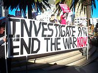 A 9/11 Truth movement protest sign, October 2009