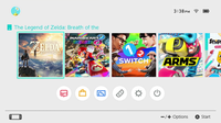 The main menu screen of the Switch console