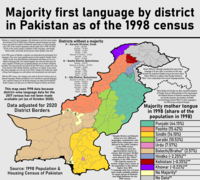 Map of the languages of Pakistan; Punjabi is in teal and Saraiki, commonly thought to be a dialect of Punjabi, is in light green