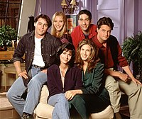 Friends cast in first season. Front: Cox, Aniston. Back: LeBlanc, Kudrow, Schwimmer, Perry.