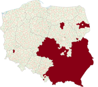 Map of Poland, LGBT-free zones declared on a voivodeship, powiat or gmina level marked in red.