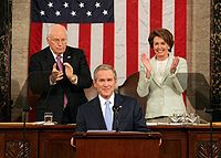 President George W. Bush delivers the 2007 State of the Union Address, with Vice President Dick Cheney and Speaker of the House Nancy Pelosi.