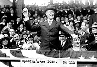 President Woodrow Wilson throws out the ceremonial first ball on Opening Day, 1916