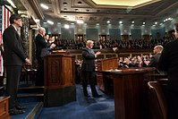 President Donald Trump delivers the 2018 State of the Union Address, with Vice President Mike Pence and Speaker of the House Paul Ryan.