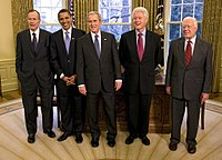 From left: George H. W. Bush, Barack Obama, George W. Bush, Bill Clinton, and Jimmy Carter. Photo taken in the Oval Office on January 7, 2009; Obama formally took office thirteen days later.