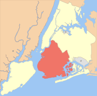 Location of Brooklyn (red) within New York City (remainder white)