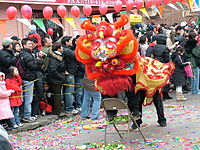 """Celebrating Chinese New Year in """"Little Fuzhou"""", one of several Chinatowns in Brooklyn, in Sunset Park. Brooklyn's rapidly growing Chinese American population was estimated to have surpassed 200,000 in 2014."""