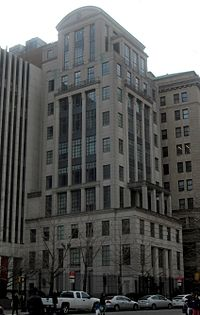 """Brooklyn Law School's 1994 new classical """"Fell Hall"""" tower, by architect Robert A. M. Stern"""