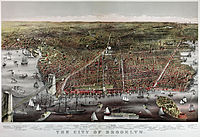 Currier and Ives print of Brooklyn, 1886