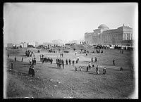 View of Eastern Parkway looking toward the Brooklyn Museum, cellulose nitrate negative photograph by Eugene Wemlinger c.1903–1910 Brooklyn Museum