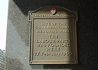 Labour Party Plaque from Caroone House, 14 Farringdon Street