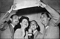 The Pied Pipers in 1944: Pictured here are Charles Lowry, Jo Stafford, Clark Yocum, and John Huddleston,