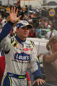Jimmie Johnson came in second behind Busch by 8 points.