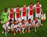 Vermeer with Ajax teammates lining up for a Champions League match against Olympique Lyonnais.