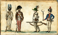 1781 drawing of American soldiers from the Yorktown campaign showing a black infantryman, on the far left, from the 1st Rhode Island Regiment, one of the regiments in the Continental Army having the largest majority of black patriot soldiers. An estimated 4% of the Continental Army was black (see African Americans in the Revolutionary War).