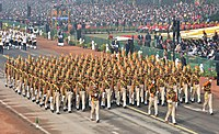 The ITBP Marching Contingent passes through the Rajpath, on the occasion of the 69th Republic Day Parade 2018