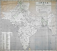 The first political map of India (1947)