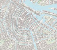 Large-scale map of the city centre of Amsterdam, including sightseeing markers,.