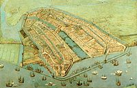 A 1538 painting by Cornelis Anthonisz showing a bird's-eye view of Amsterdam. The famous Grachtengordel had not yet been established.