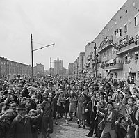 People celebrating the liberation of the Netherlands at the end of World War II on 8 May 1945