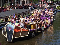 One of the decorated boats participating in the 2013 Canal Parade of the Amsterdam Gay Pride